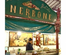 "Lunch at Tripe Kiosk ""Nerbone"" - with a Lampredotto Panino at the ground floor of Central Market in San Lorenzo."