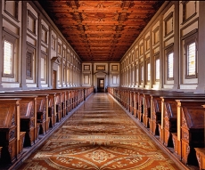Laurentian Library in Piazza San Lorenzo - 3000 manuscripts of the Medici family, cloister of Canonaci amazing example of architecture